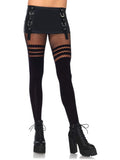 Leg Avenue Faux Thigh High Tights With Striped Fishnet Accent