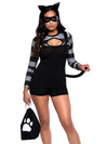 Leg Avenue 4-Piece Cat Burglar Romper Costume Set With Mask