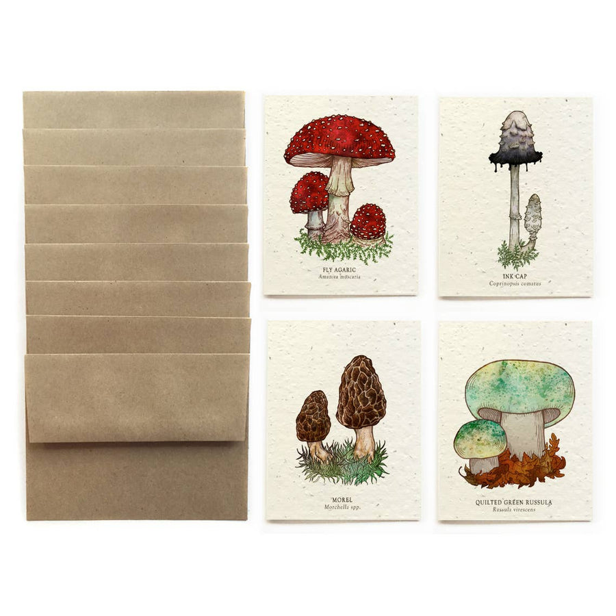 The Bower Studio - Wild Mushroom Greeting Cards - Set Of 8 Plantable Seed Paper