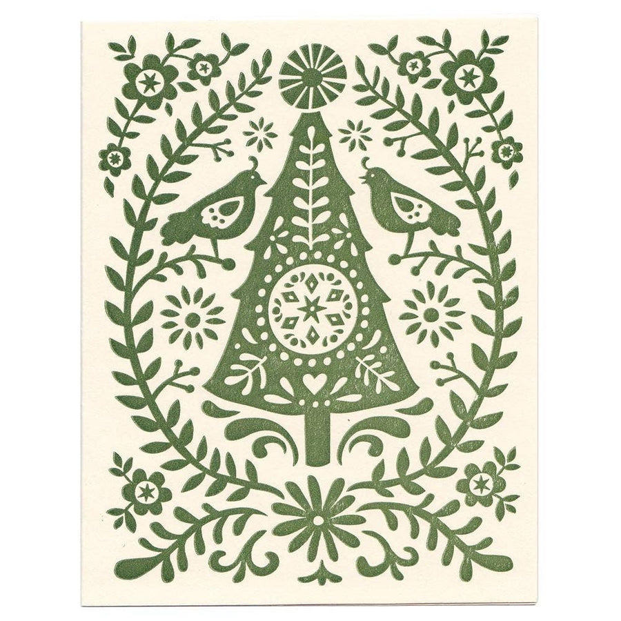 Morris & Essex - Folky Christmas Tree Holiday Greeting Card