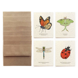 The Bower Studio - Insect Greeting Cards - Set Of 8 - Plantable Seed Paper