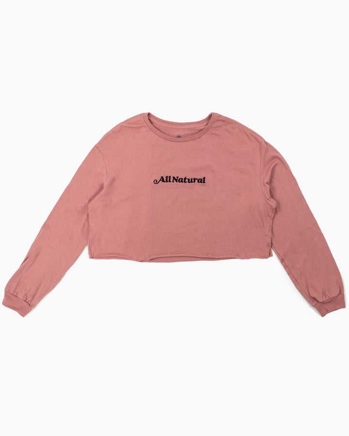 All Natural Embroidered Cropped Long Sleeve