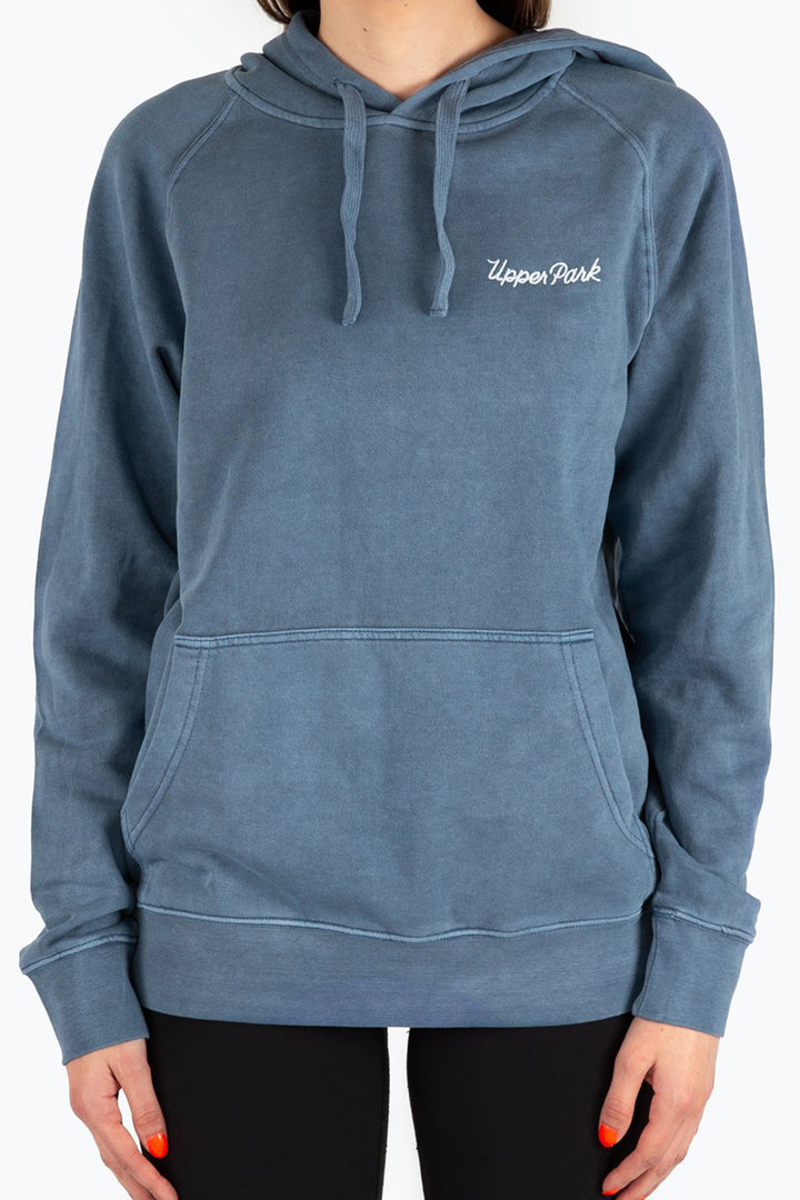 Cursive Embroidered Pullover Hoodie Faded Blue