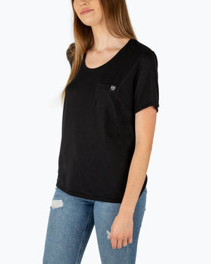 Flag Label Pocket Tee Black
