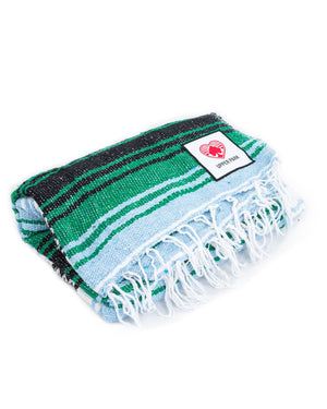 Mexican Blanket Kelly Green/Light Blue/White