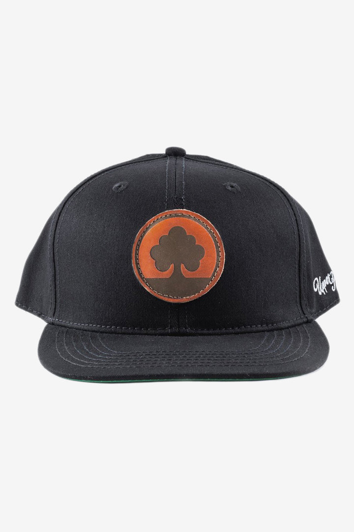 Leather Tree Patch Hat Black