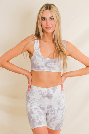 Axis High Rise Biker Shorts - Mist Grey Tie Dye