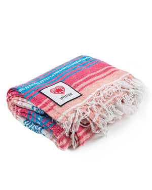Mexican Blanket Turquoise/Coral/Melon/White