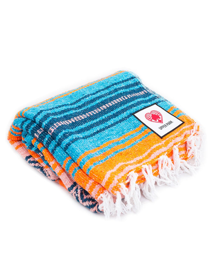 Mexican Blanket Teal/Turquoise/Melon/Orange
