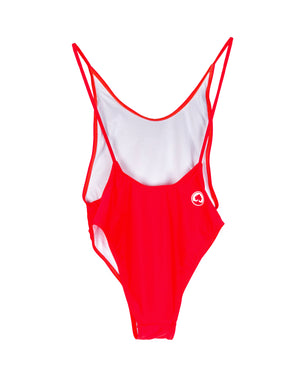 Upper Park Block Letter Onesie Swimsuit Red