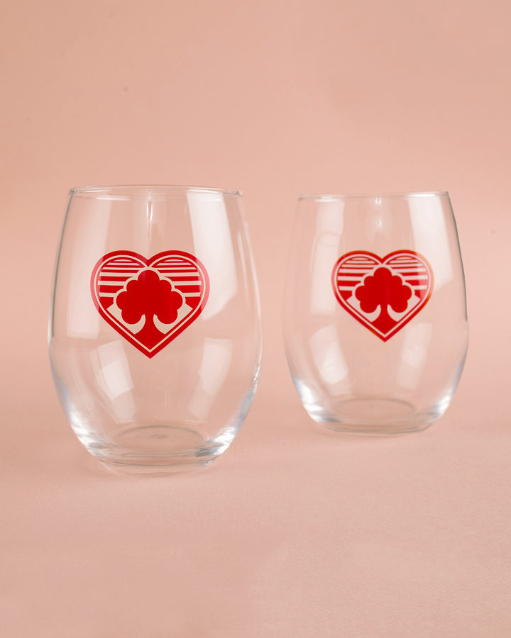 2-pack Heart Trees Stemless Wine Glasses