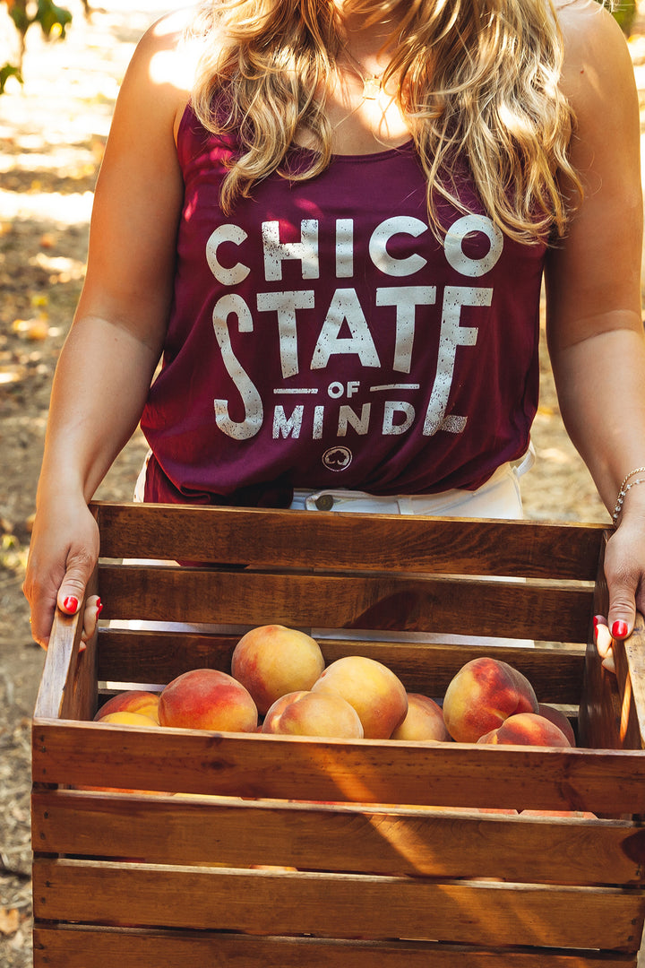 Chico State Of Mind Side Slit Tank Maroon