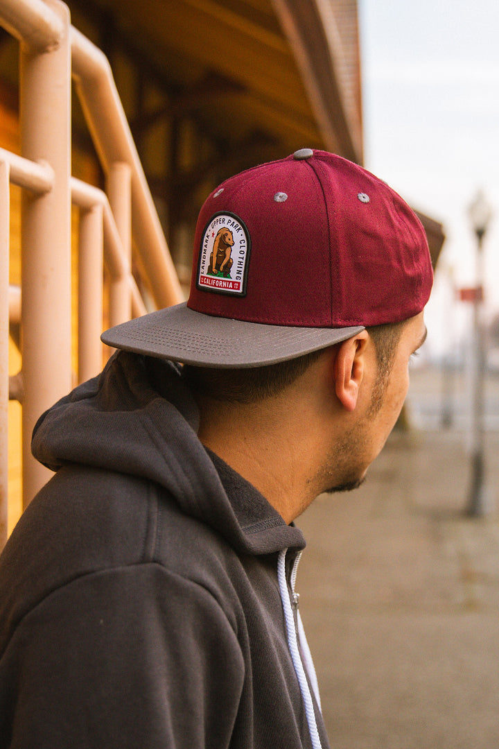 Sitting Bear Hat Maroon/Grey