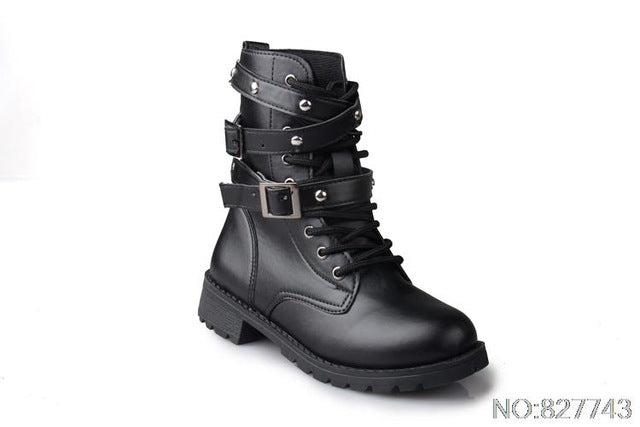 British Style Classic Women Motorcycle Boots
