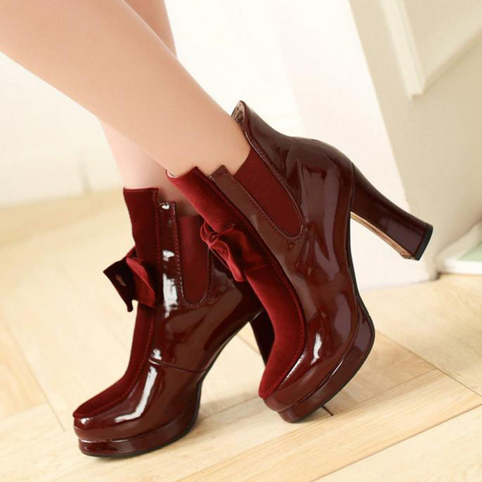 Platform Patent Leather High Heel Mid Calf Boots