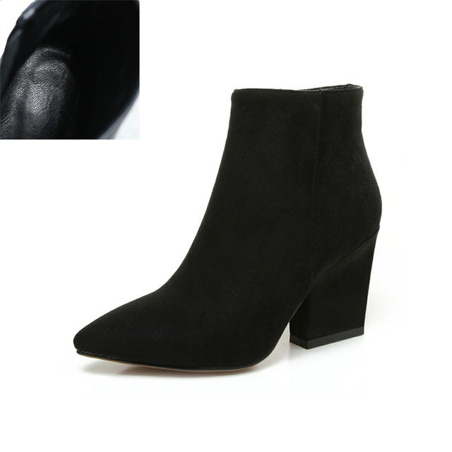 Pointed Toe Ankle Boots High Chunky Heel