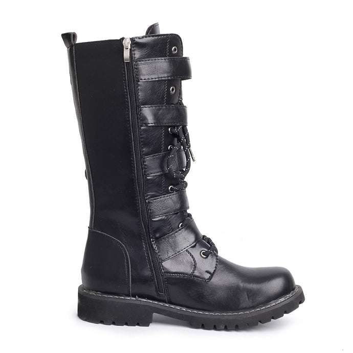 Punk Mid Calf Motorcycle Boots
