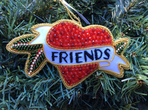 Friends Red Crystal Beaded Loveheart Ornament