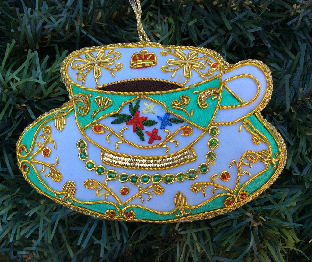 Kensington Palace Eau de Nil Teacup Christmas Ornament