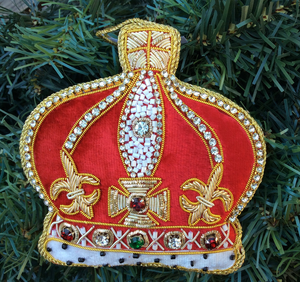 Red Velvet with Gold Crystal Crown Christmas Ornament
