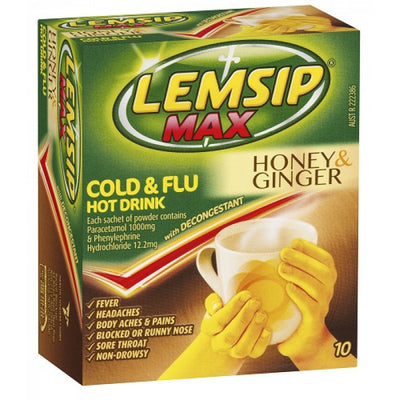 Lemsip Max Cold & Flu Honey & Ginger 10pk