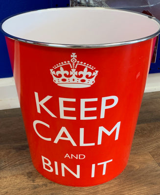 Keep Calm Red Waste Bin