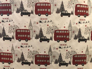 London Themed Red Glitter Christmas Wrapping Paper 2mtrs