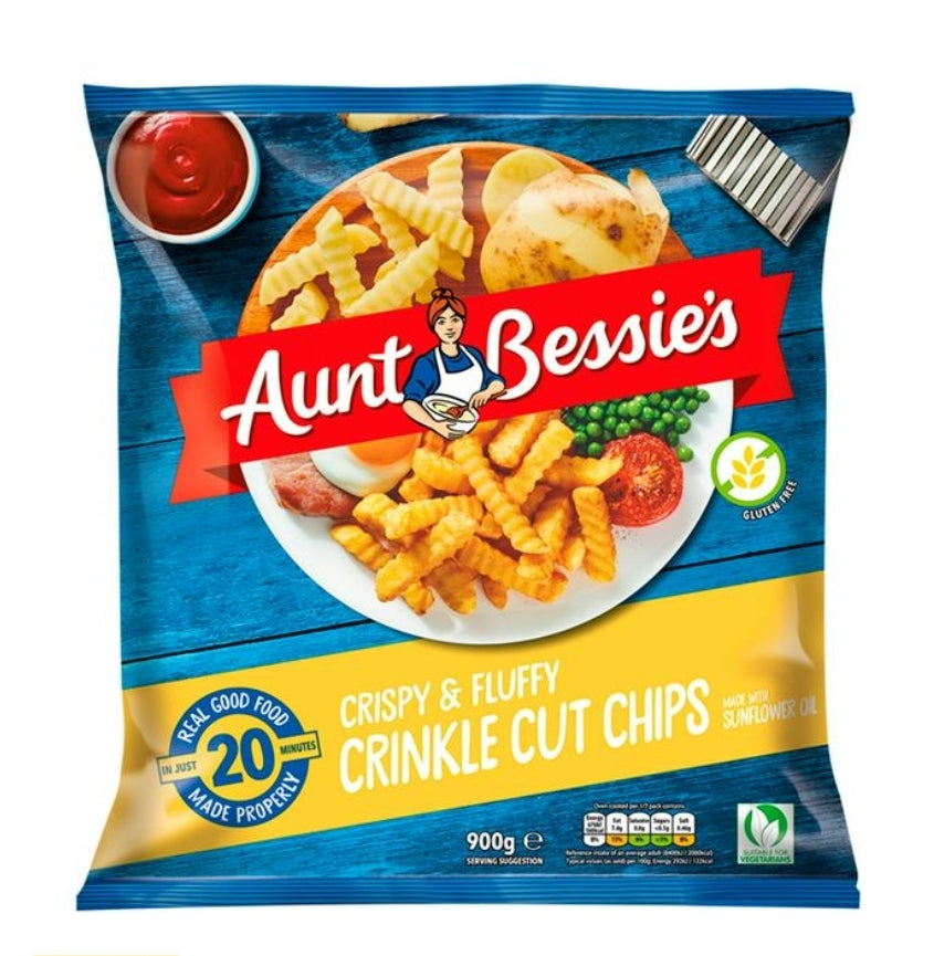 Aunt Bessies Crinkle Cut Chips 900g (2lb Ship Weight)