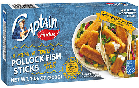 Findus 10 Premium Crunchy Pollock Fish Fingers 300g (1lb Ship Weight)