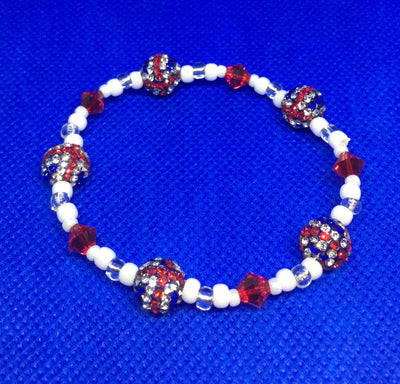 Bead stretch Bracelet - Union Jack with Red