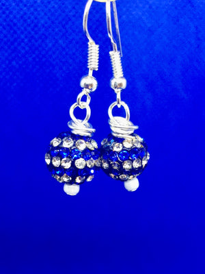 Blue & Silver Glitter Bead Earrings