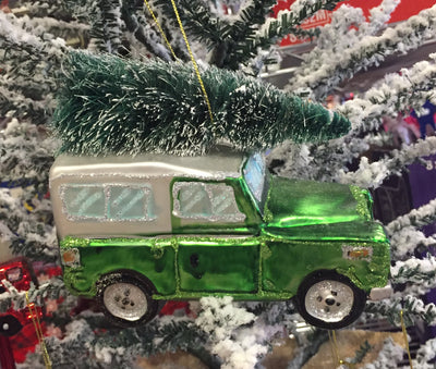 Green Landrover Ornament