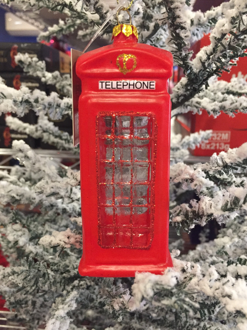 Red Glass Phone Box with Clear Windows Ornament