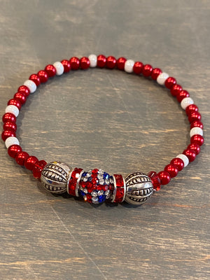 Bead stretch Bracelet - Union Jack Single Glitter Bead with Red