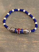 Bead stretch Bracelet - Union Jack Single Glitter Bead with Blue