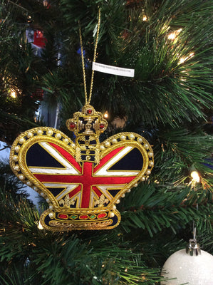 Union Jack Crown Christmas Ornament