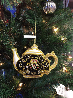 Black Royal Tea Pot Christmas Ornament