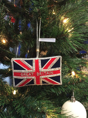 Union Jack Flag with Great Britain Christmas Ornament