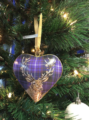 Purple Tartan Print Metal Stag Heart Christmas Ornament