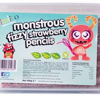 Pimlico Monstrous Fizzy Strawberry Pencils Tub 450g