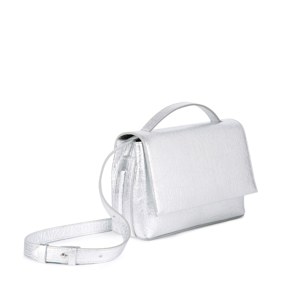 The Zanele | Cross Body Bag | Silver Piñatex