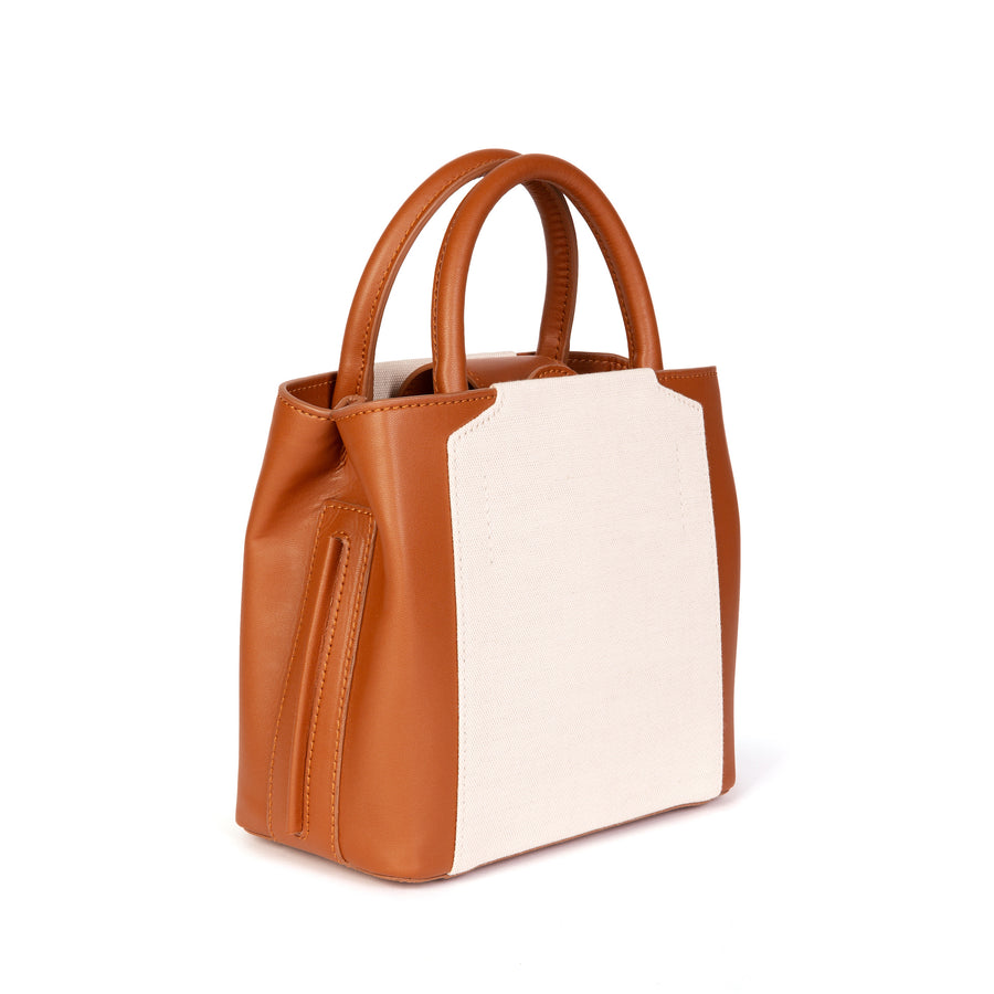 Nina Mini Handbag - Tan & Cream