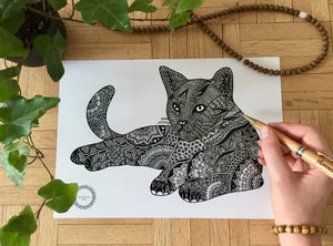 Mandala Cat Drawing - Billee the cat