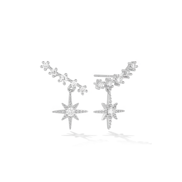 Nebula Cloud Climber Earrings - Silver