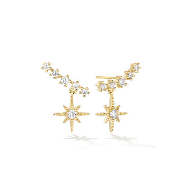 Nebula Cloud Climber Earrings - Yellow Gold