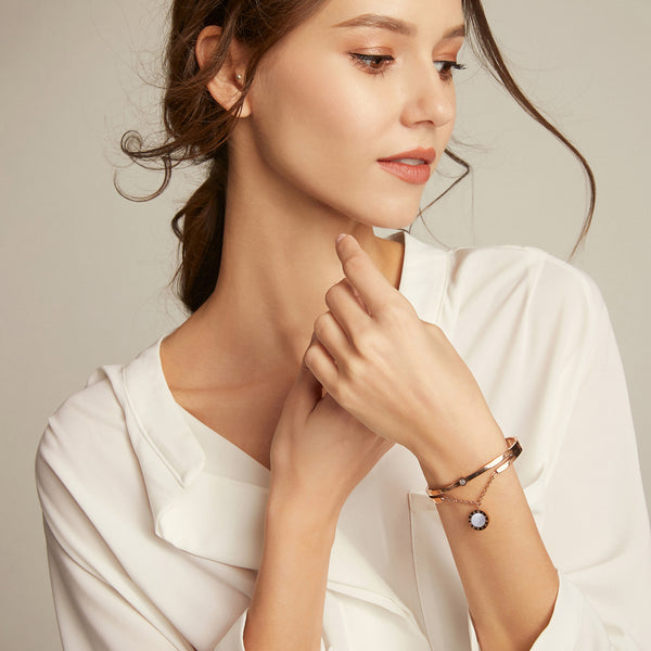 Artemis & Luna Bangle - Rose Gold