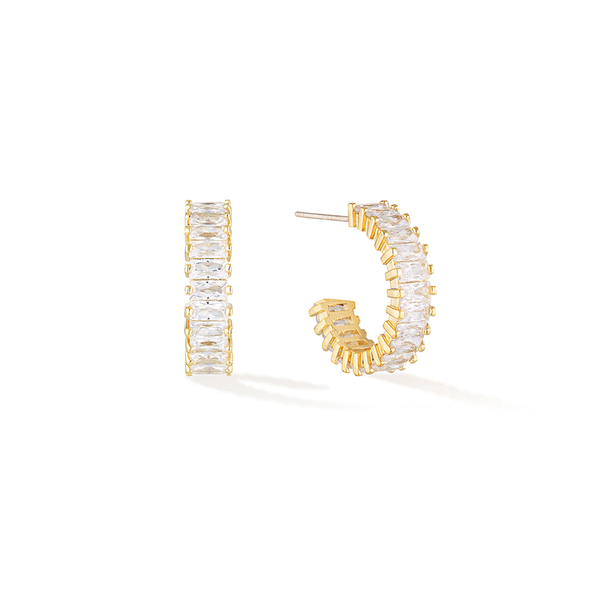Eternity Baguette Hoops- Yellow Gold