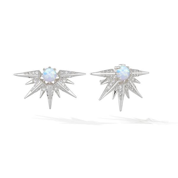 Cosmic Sun-Ray Earrings - Silver