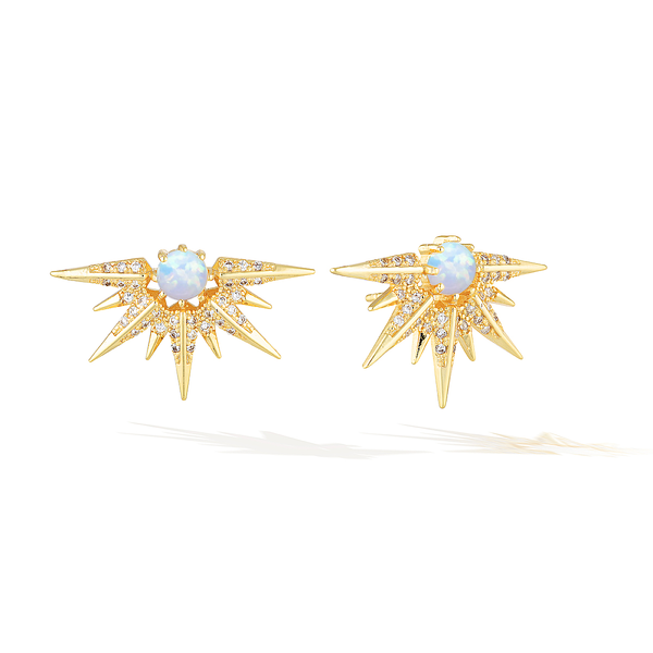 Cosmic Sun-Ray Earrings - Yellow Gold