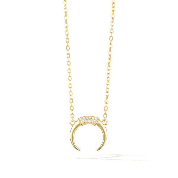 Goddess of Crescent Moon Necklace - Yellow Gold
